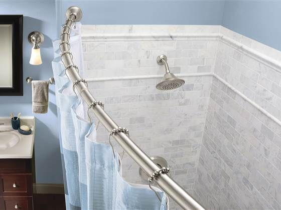 11 Ways To Revamp Your Bathroom For 100 Or Less Shower Rod Shower Curtain Rods Amazing Bathrooms