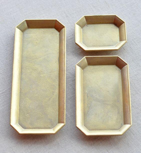 Image of Futagami Brass Stationary Trays | Oji Mansanori