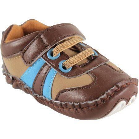 Luvable Friends Newborn Baby Boy Explorer Sneakers, Size: 0 - 6 Months, Brown
