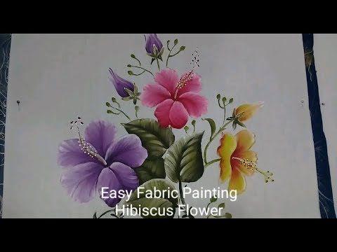 Hibiscus Flower And The Leaf Fabric Painting How To Paint Flower How To Paint On Shoe Flowers Youtube Lukisan Bunga Lukisan Kain Burung Cat Air