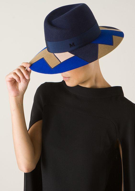 Maison Michel Hats :: Maison Michel dark blue Virginie king blue, beige and nude patchwork hat | Montaigne Market