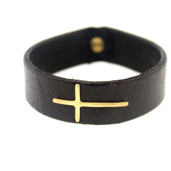 Buffalo Leather Bracelet with Thin Gold Cross