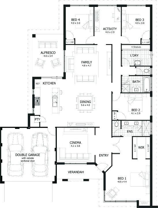 4 Bedroom Single Floor House Plans One Floor House Plan Single Story 4 Bedroom House Plans South House Plans Australia 4 Bedroom House Plans Beach House Plans