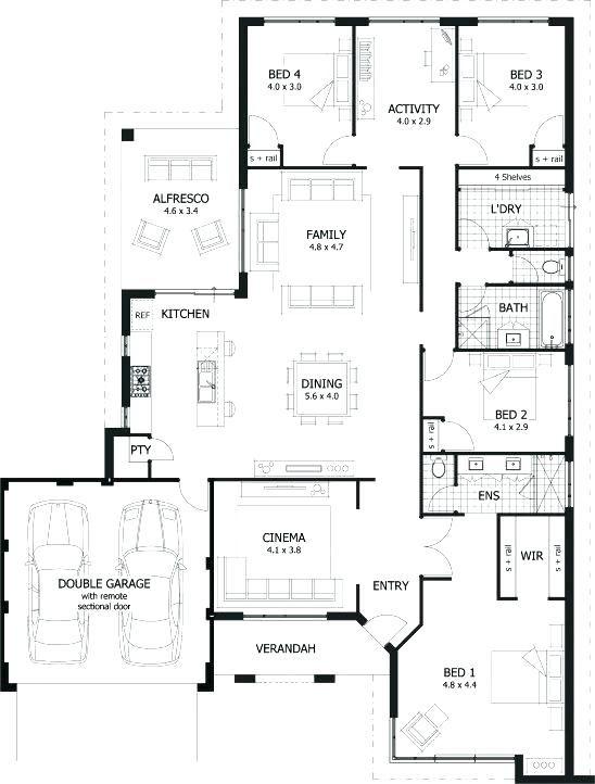 4 Bedroom Single Floor House Plans One Floor House Plan Single Story 4 Bedroom House Plans Sout House Plans Australia Bedroom House Plans 4 Bedroom House Plans