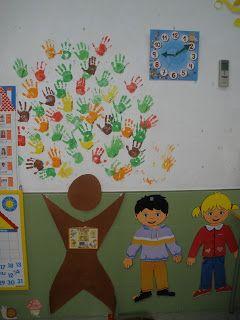 Árbol  realizado con las manos de los alumnos como actividad de bienvenida.