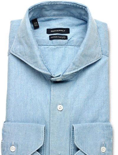 Suitsupply chambray spread collar get in my closet for Wide spread collar shirt
