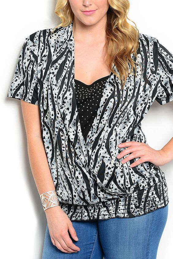 DHStyles Women's Gray Black Plus Size Chic Embellished Animal Print Smocked Layered Top - 2X Plus #sexytops #clubclothes #sexydresses #fashionablesexydress #sexyshirts #sexyclothes #cocktaildresses #clubwear #cheapsexydresses #clubdresses #cheaptops #partytops #partydress #haltertops #cocktaildresses #partydresses #minidress #nightclubclothes #hotfashion #juniorsclothing #cocktaildress #glamclothing #sexytop #womensclothes #clubbingclothes #juniorsclothes #juniorclothes #trendyclothing…