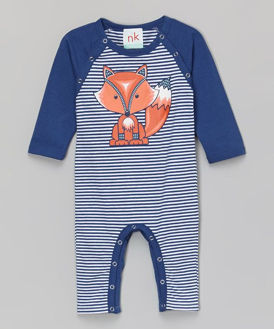Look at this nktoo by Nohi Kids Navy Stripe Fox Playsuit - Infant on #zulily today!