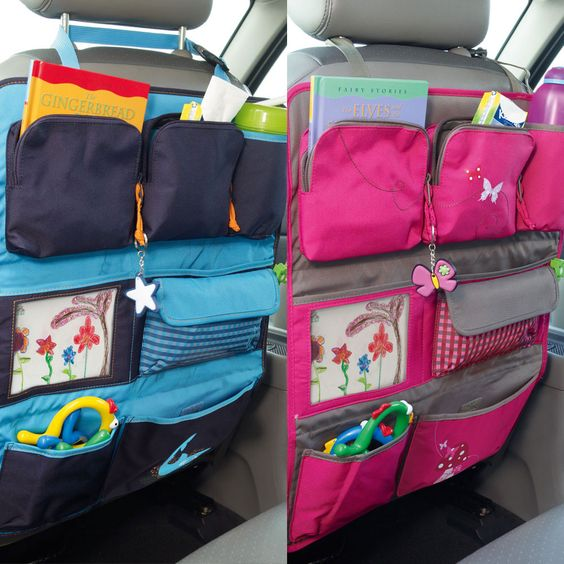 Adventurer Car Seat Protector & Organiser. Got to makes these for our car! Keep the kid stuff out of the foot wells!