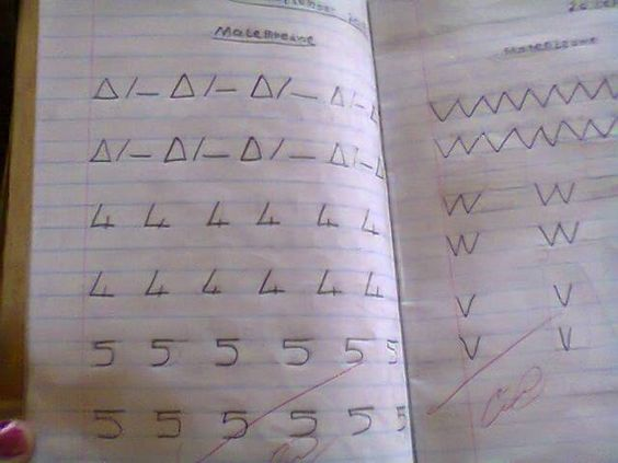 A pupil's exercise book.