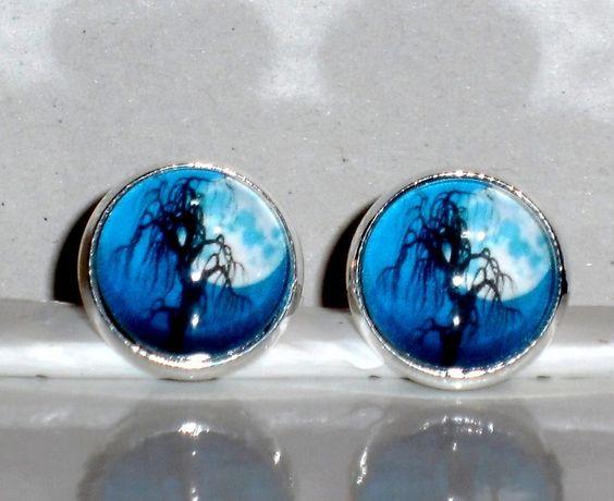 Ausgefallene Ohrringe - Ohrstecker Baum blau Cabochon handgemacht Glasstein