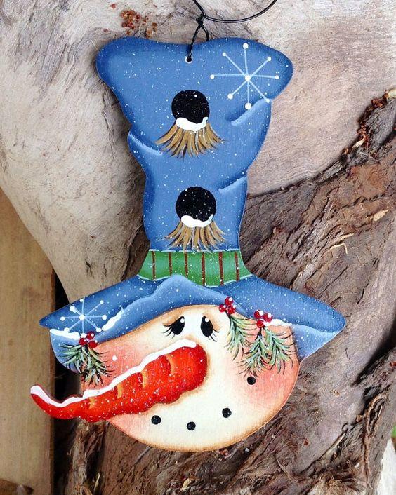 Hohen blauen Hut Schneemann Ornament von CountryCharmers auf Etsy
