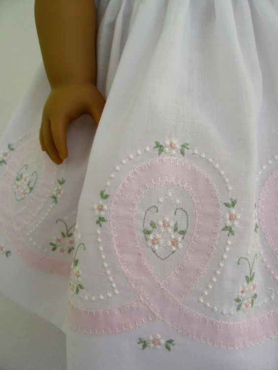 Etsy Transaction - American Girl Doll Clothes White and Pink Shadow Embroidered Dress