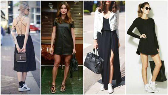 vestido-preto-tenis Pretinho Básico sem Monotonia. Veja todas as dicas no www.toberose.com.br