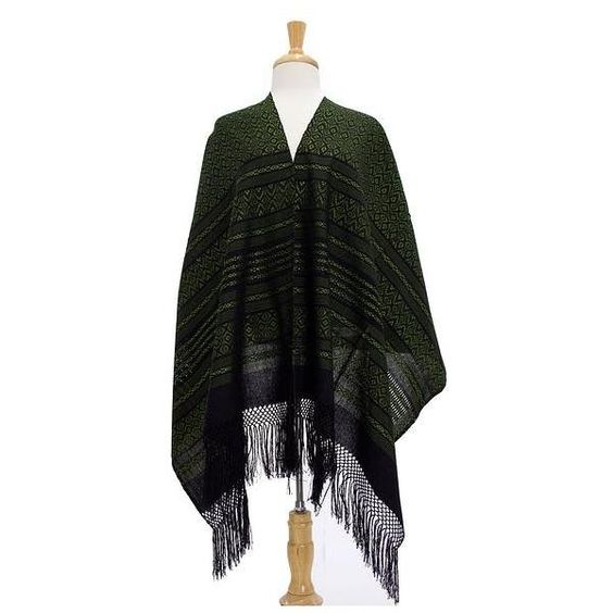 NOVICA Green and Black Cotton Handwoven Zapotec Shawl ($80) ❤ liked on Polyvore featuring accessories, scarves, clothing & accessories, green, shawls, wrap shawl, cotton scarves, fringed shawls, crochet scarves and fringe scarves