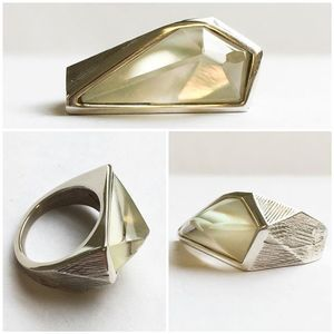#limited #silver mother of #pearl and #quartz #ring available now.