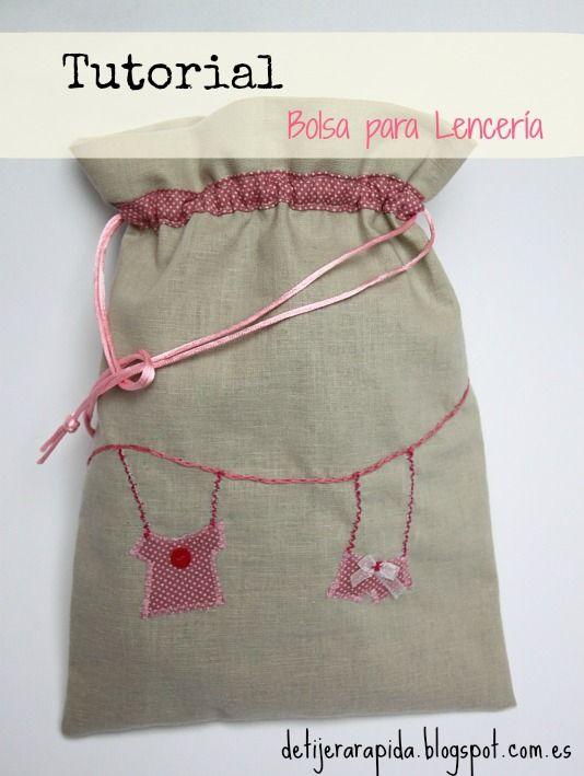 De Tijera Rapida: Como hacer una bolsa para lencería: