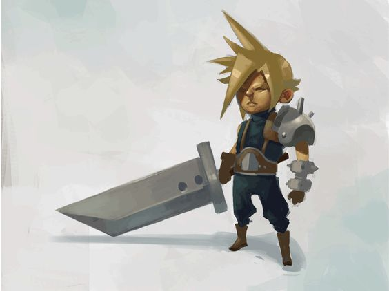 """Cloud Strife digital painting animation by Michael B. Myers Jr.  """"To celebrate my first creation posted on Patreon, I made this little gif of one of the most emo of FF protagonists, Cloud Strife! I've got high res files, .psds and more if you are a patron.""""  www.patreon.com/drawsgood"""