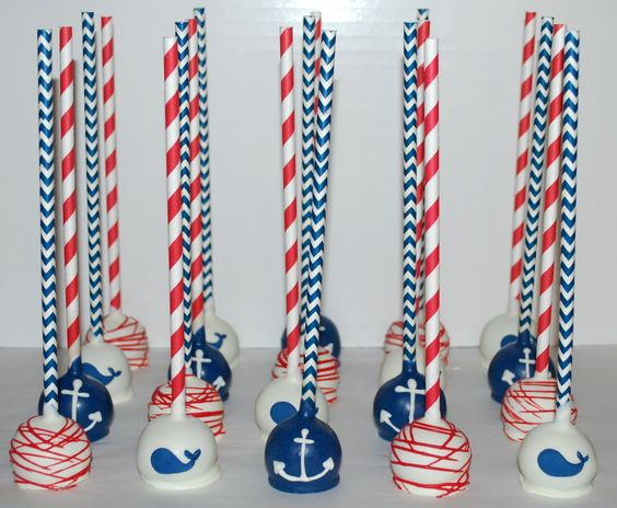 Nautical Whale & Anchor Cake Pops ~ NutMeg Confections