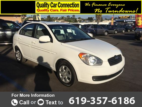 2009 *Hyundai*  *Accent* *GLS* *4-Door*  130k miles Call for Price 130365 miles 619-357-6186 Transmission: Automatic  #Hyundai #Accent #used #cars #QualityCarConnection #LaMesa #CA #tapcars
