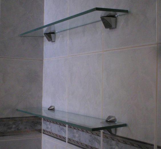 Estanterias Para Baños Imagenes:sencillas y elegantes para baño Con cristal 10 mm claro y clips de