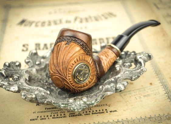 Pipa que fuma Ancla. Pipa de madera tallada. Pipas por SovietHouse