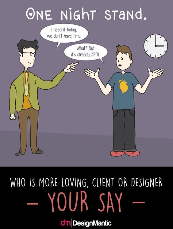 Illustrations Capture The LoveHate Affair Between Clients And - Funny illustrations show the love hate relationship between designers