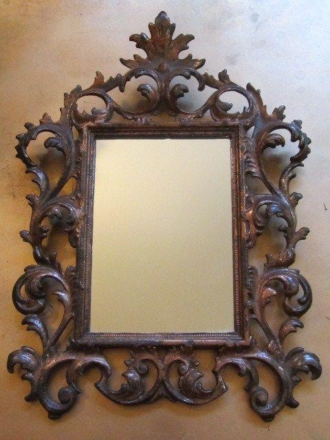 Mirror Antique Victorian Ornate Cast Iron Filigree Heavy Wall Vintage
