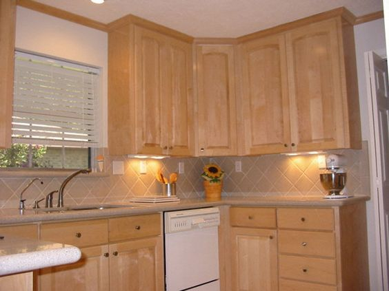 Natural maple cabinets with white appliances white for Best quality rta kitchen cabinets