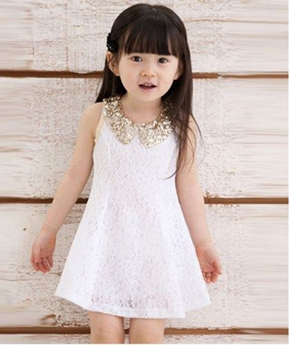 WHITE Dress for Little Girls Golden Peter Pan Collar-Flower Girl ...