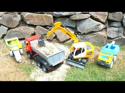 Lastwagen Bagger Trucks Baustelle Fur Kinder Vehicles Toys For Kids Excavator Dump Truck Youtube Lastwagen Bagger Baustelle
