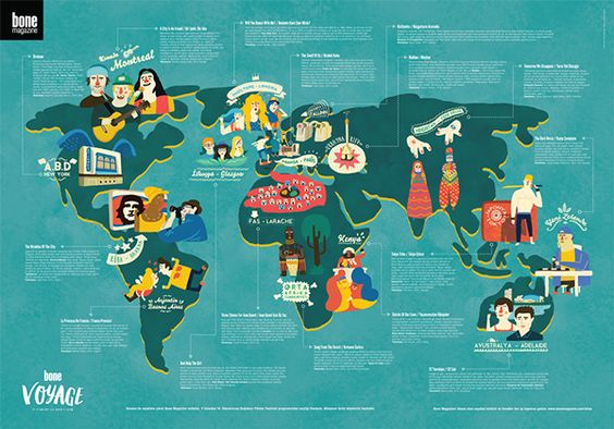 Murat Kalkavan - Istanbul Independent Film Festivl !F World Map - Poster for Bone Mag
