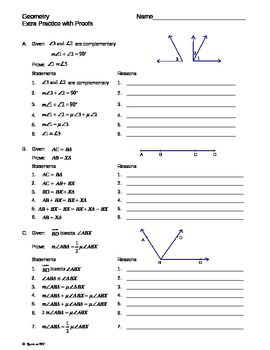 Printables Free High School Geometry Worksheets equations with variables on both sides cut and paste activity geometry intro proofs extra practice worksheet