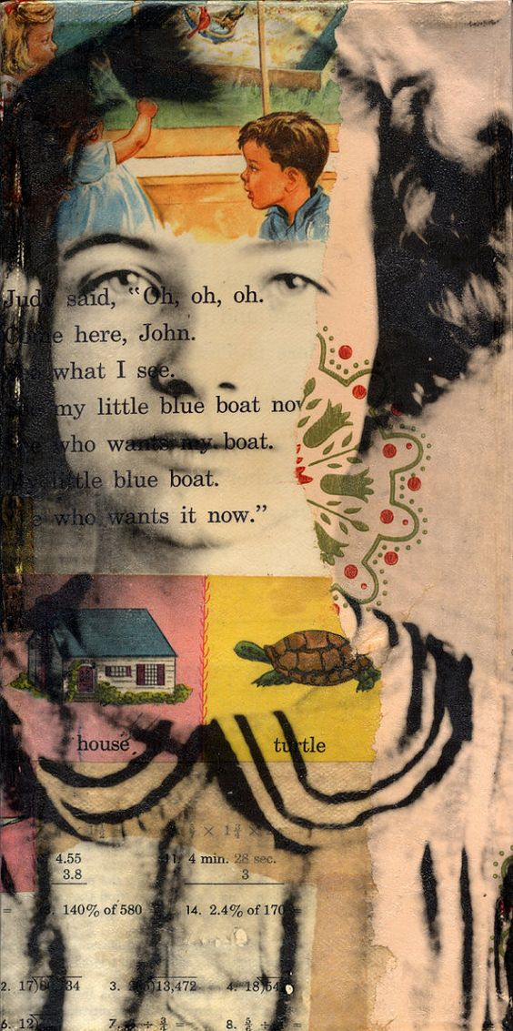 kids create a collage / painting background, then we print their photo directly onto overhead. perhaps also encourage them to include an artful quote