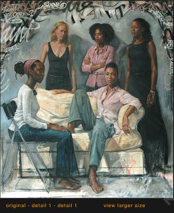 "Check out this artist, Tim Okamura (timokamura.com), he's outta Brooklyn.  This is ""La Familia"", oil on canvas, 2006"