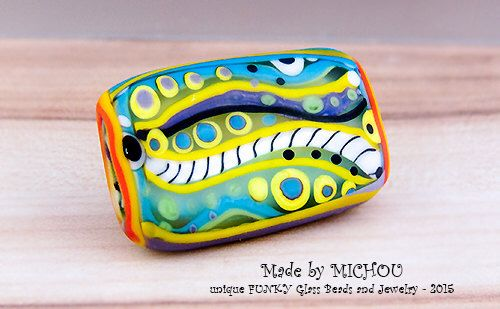 Modern - Art Glass - Lampwork bead in multicolor and stripes - 1free shaped focal bead - by Michou P. Anderson by michoudesign on Etsy https://www.etsy.com/listing/252869298/modern-art-glass-lampwork-bead-in