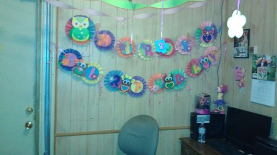 An owl b day banner i made for my princess 2nd bday party