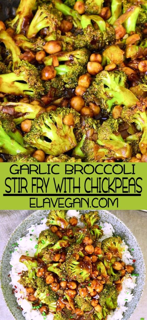 Flavorful broccoli stir fry with chickpeas and a delicious garlic ginger sauce! This vegan weeknight dinner is easy to make in just one pan and it's ready in about 25 minutes. The healthy takeout recipe is meat-free, gluten-free, low in fat, and very simple! #veganstirfry #healthytakeout #vegetarianstirfry #broccolistirfry #vegandinner #elasrecipes | elavegan.com