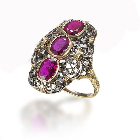 A ruby and diamond ring, by Buccellati, circa 1920.