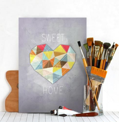 heart home sweet castle triangle abstract concrete fractal illustration Illustration