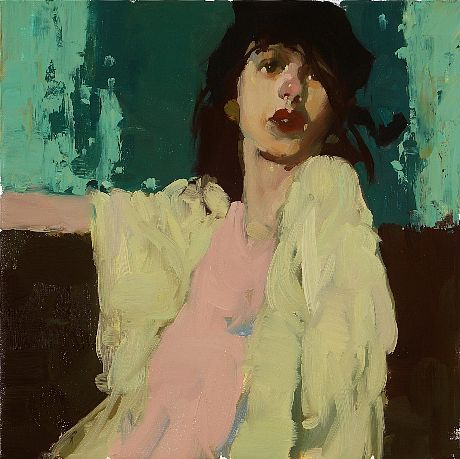 Milt Kobayashi, Classic on Turquoise Green, oil on canvas.