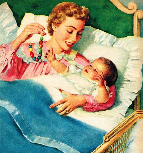 Mother & Child - art by Nell Wilson - detail from 1957 Laconia Blanket ad.: