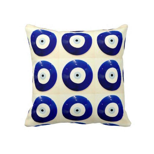 Turkish Nazar Evil Eye Design Throw Pillow ... // Zazzle.com Merchandise // Pinterest ...