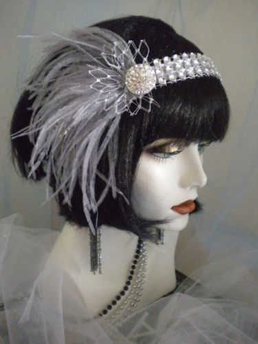 Feathers, Grey and 1920s headpiece on Pinterest