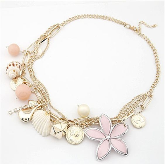 NEW Lovely Pink Ocean Style big flower shell Necklace Fashion multi element necklaces Gift for women girls XL 609-in Choker Necklaces from Jewelry on Aliexpress.com | Alibaba Group
