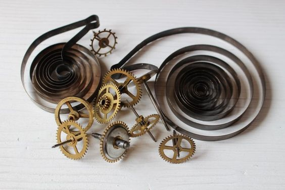 Steampunk supplies, vintage clock gears and springs by allthatglittersbeads on Etsy