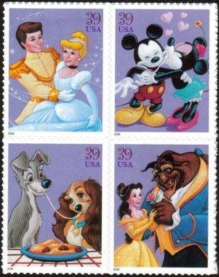2006 39c The Art of Disney, Romance, Block of 4 Scott 4025-28 Mint F/VF NH