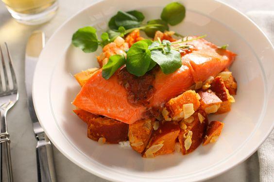Coho Salmon with Sweet Potato Salad and Cinnamon Sauce - Nut Free, Nightshade Free, some wine