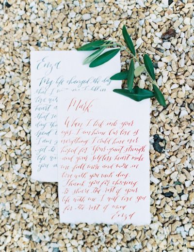 Love notes: http://www.stylemepretty.com/little-black-book-blog/2014/12/23/elegantly-festive-tuscan-wedding-inspiration/ | Photography: Anthem - http://anthemphotography.com/