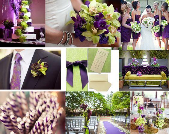 Decoración en morado y verde para tu boda.